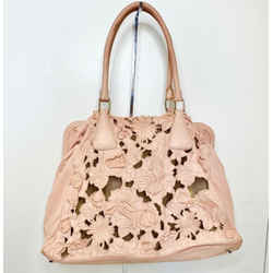 Valentino Dusty Pink Soft Leather Embroidered Flower Tote Handbag