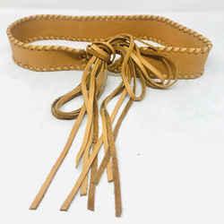 Vintage Tan Deer Skin Woven Sides Fringe Belt 2400-591-91820