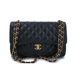 Chanel Black Caviar Jumbo Classic Double Flap Bag GHW