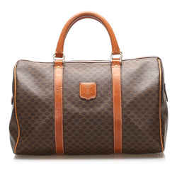 Brown Celine Macadam Coated Canvas Boston Bag