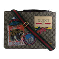 Courrier Messenger Bag GG Coated Canvas With Applique