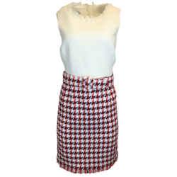 Oscar de la Renta Sleeveless Houndstooth Cotton Tweed Dress