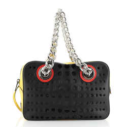 Grommet Chain Shoulder Bag Perforated Leather Medium
