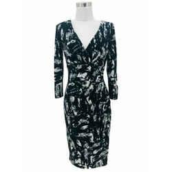 N999 Lauren Ralph Lauren Designer Dress Size 4 Small Black Grey Abstract Bodycon