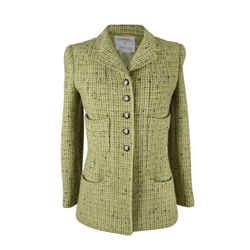 Chanel 97a Jacket Fresh Spring Green Tweed Divine Buttons