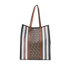 Pre-Owned Burberry Monogram Stripe E-canvas Medium Portrait Tote Bag