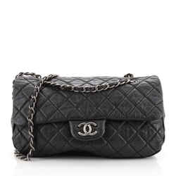 CC Soft Flap Bag Quilted Distressed Calfskin Large