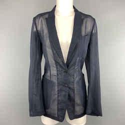 Dries Van Noten Size 6 Navy Blue Sheer Cotton Jacket / Blazer
