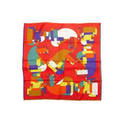 Red & Multicolor Hermes Echec Au Roi Silk Scarf