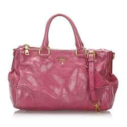 Vintage Authentic Prada Pink Patent Leather Leather Vitello Shine Satchel Italy