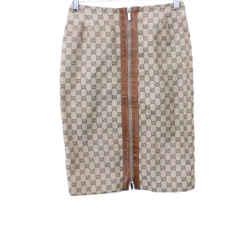 Gucci Tan Monogram Print Polyester Skirt Sz 38