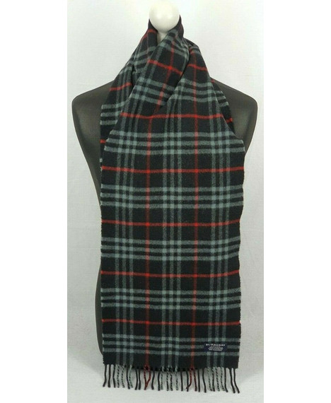 BURBERRY 872022 Lambswool Nova Check Classic Navy Blue Scarf