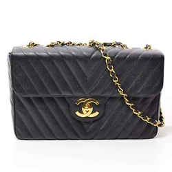 Auth Chanel Caviar Skin V Stitch Deca Matrasse Chain Shoulder Leather Bag