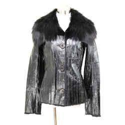 Dolce & Gabbana Black Eel Skin Jacket Fur Lined Size 4
