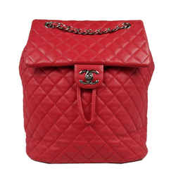 Chanel Red Urban Spirit Large Leather Quilted Backpack