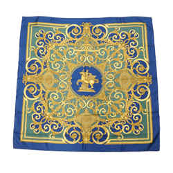 Vintage Authentic Hermes Blue  With Multi Silk Fabric Les Tuileries Scarf France