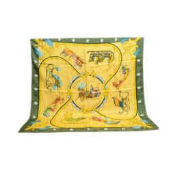 Auth Hermes Vintage 100% Silk Scarf Plumes et Grelots Green Gold Abadie 90cm