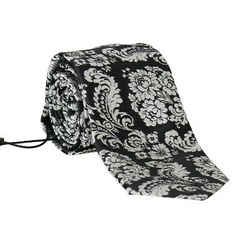 Dolce & Gabbana Black Silk Baroque Floral Print Men's Tie