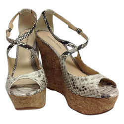 Alexandre Birman Natural Python Cross Strap Wedges Size: US 8.5 Regular (M, B) Item #: 21151048