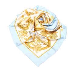 Blue Hermes Printed Silk Scarf