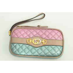 Authentic Gucci Metallic Leather Trapuntata Zip Quilted Laminated Wristlet Bag 2