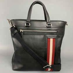 BALLY Black Stripe Leather Rectangle Tote Bag