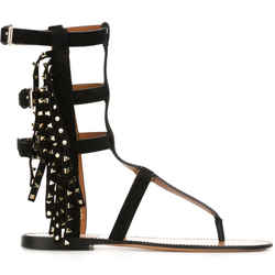 Valentino Fringed Rockstud Gladiator Flat Sandals Sz 37 Caged Black Nib $1675