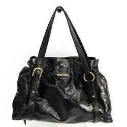 Miu Miu Side Ribbon RR1312 Women's Leather Tote Bag Black BF518172