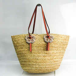Coach With Tea Rose Woven 68610 Women's Leather,Straw Tote Bag Beige,Pi BF518651