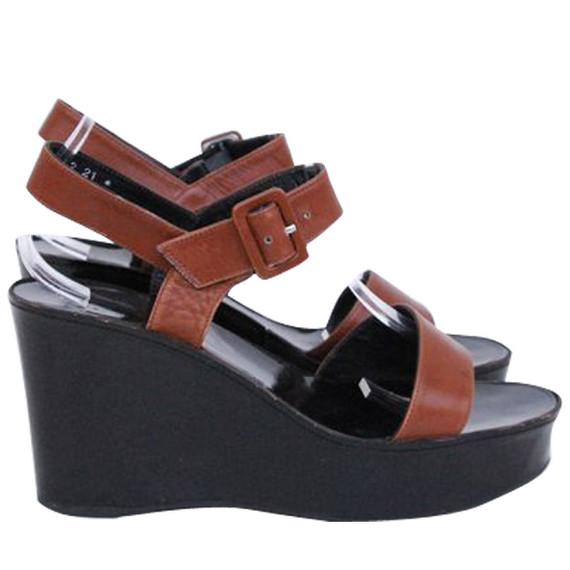 Robert Clergie Brown Leather Wedge Sandals