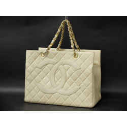 Chanel Quilted Ivory Caviar Leather Timeless Grand Shopping Tote 234426