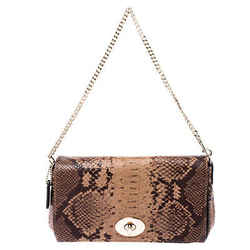Coach Brown/Beige Python Embossed Leather Mini Ruby Crossbody Bag