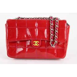 Chanel Red Patent Mini Classic Flap Silver Chain Bag 1ccs1228