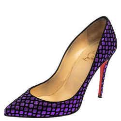 Christian Louboutin Purple/Black Glitter And Velvet Pigalle Follies Pumps Size