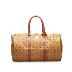 Vintage Authentic MCM Brown Light Brown Calf Leather Visetos Duffle Bag Germany