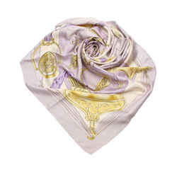 Vintage Authentic Hermes Purple Lavender Silk Fabric Etriers Scarf France