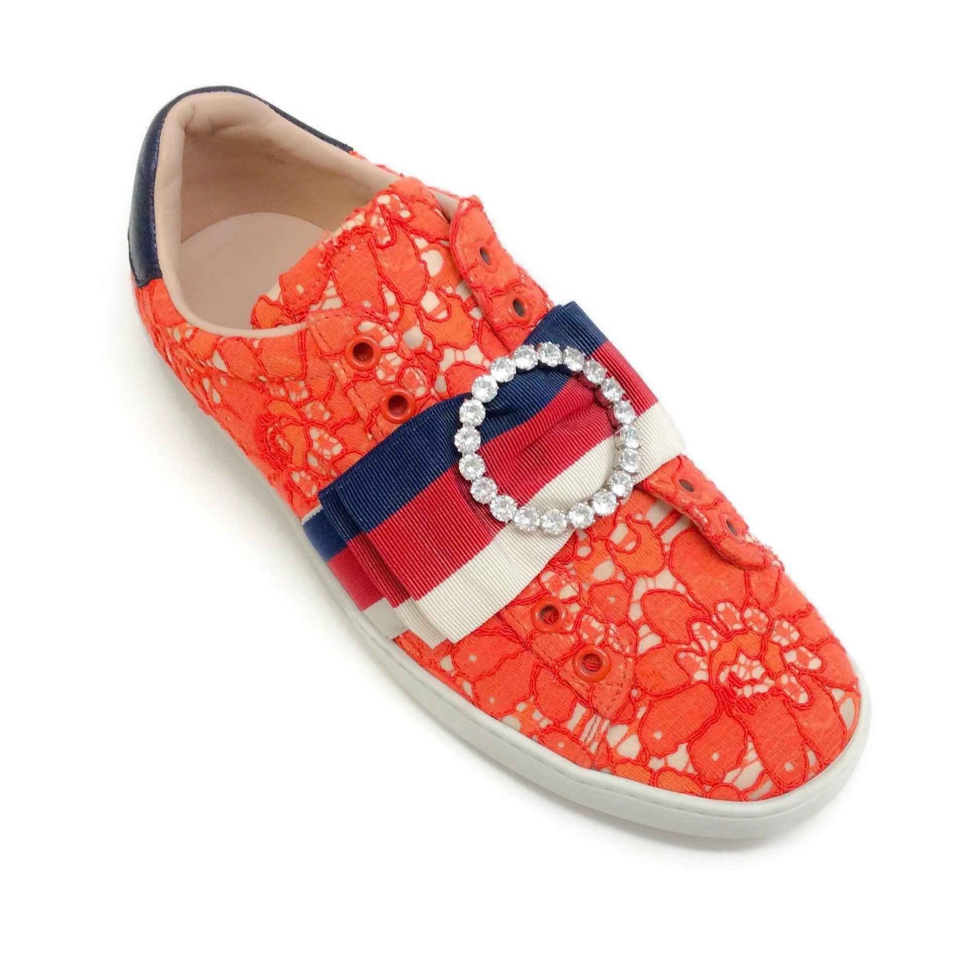 Gucci Orange Lace New Ace Slip On