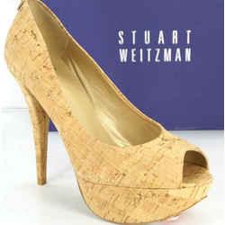 Stuart Weitzman Cork Diplille Platform Peep Toe Pumps Sz 9.5 Nib $398 Corkswoon