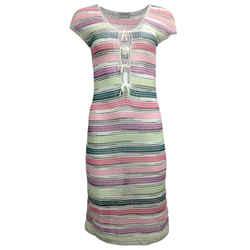 Missoni Sport Pink & Green Striped Viscose Knit Cocktail Dress