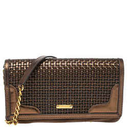 Burberry Metallic Brown Woven Leather and Suede Small Shoulder Bag