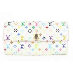 Louis Vuitton White Monogram Multicolor Blanc Sarah Wallet Porte Tresor 4lvs114