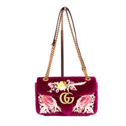 NEW $2290 GUCCI Pink GG MARMONT 2.0 Matelasse EMBROIDERED VELVET Shoulder BAG