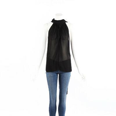 Saint Laurent Top Black Sheer Sleeveless