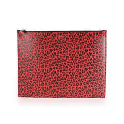 Saint Laurent Red & Black Leopard-Print Leather Large Zip Pouch