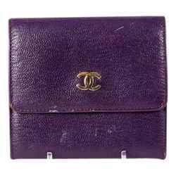 "Chanel Purple Leather Porte Monnaie French Wallet 3.75""l X 3.5""h X 1""w"