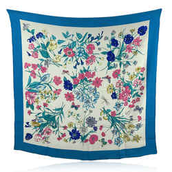Gucci Vintage Turquoise Blue Pink Flowers Floral Silk Scarf