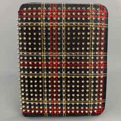 CHRISTIAN LOUBOUTIN Black & Red Plaid Canvas Spike iPad Case