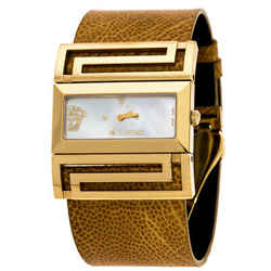 Versace Mother of Pearl Gold Plated Stainless Steel Leather Beauville VSQ90 W...