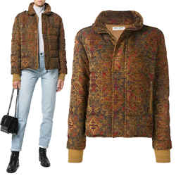 US 6 NEW $3,990 SAINT LAURENT Women MARRAKECH Tapestry QUILTED PUFFER JACKET 38