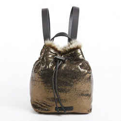 Brunello Cucinelli Gold Leather Fur Drawstring Backpack